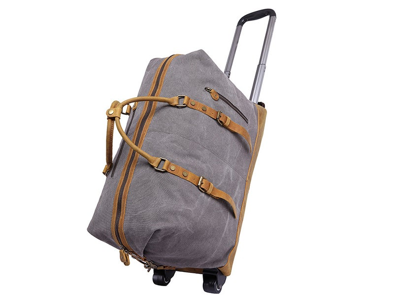 Image of Oversized Canvas Leather Trim Travel Duffel Weekend Bag 50L Wheel Version Trolley Bag YD2077-A