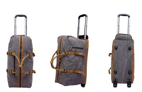 Image of Oversized Canvas Leather Trim Travel Duffel Weekend Bag 50L Wheel Version Trolley Bag YD2077-A