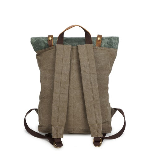 Image of Vintage Canvas Leather Backpack Hiking Daypacks Laptop Backpacks Unisex Casual Rucksack YD5191-1