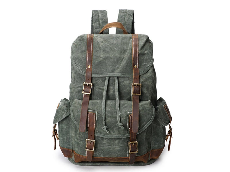 "Image of Vintage Canvas Leather Laptop Backpack College School Bookbag Travel Rucksack 15"" Waterproof YD5256"