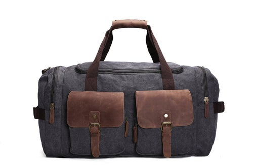 Image of Canvas Leather Overnight Duffle Bag Canvas Travel Tote Duffel Weekend Bag Luggage AF14