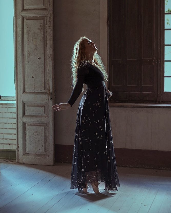 Image of Stars & Moon Print Maxi Skirt
