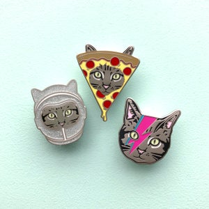Image of pizza cat enamel pin - enamel cat pin - pizza pin