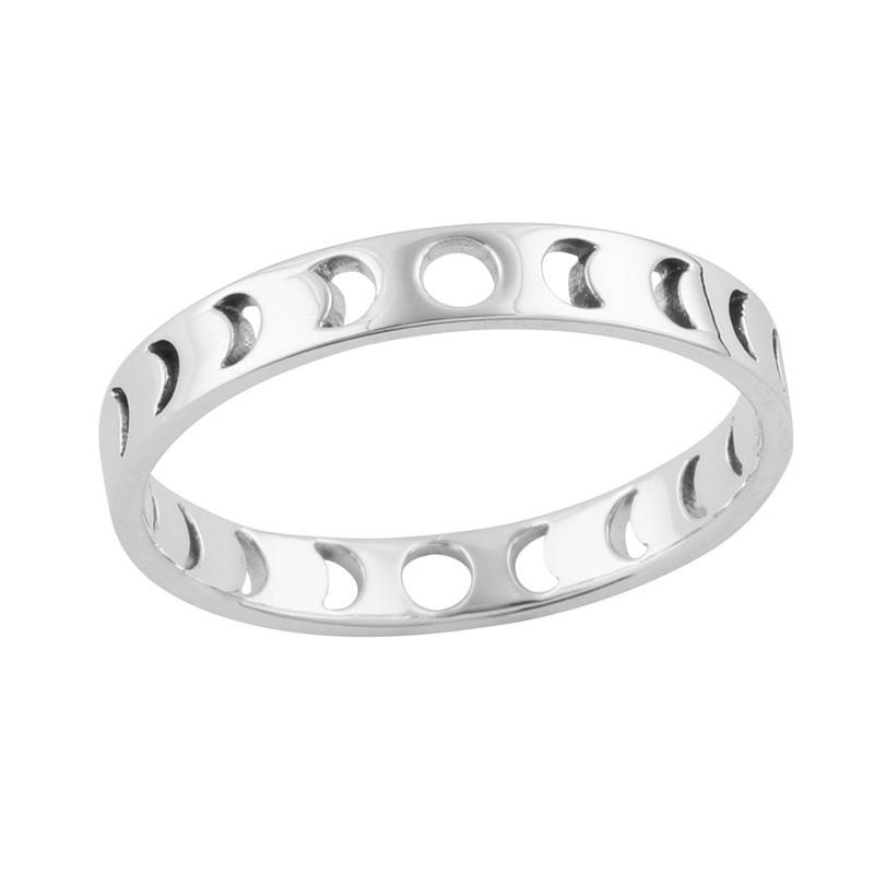 Image of Sterling Silver Phases Of The Moon Ring