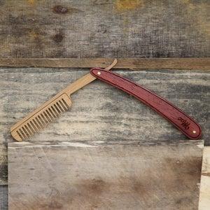 Image of Wood Straight Razor Beard Comb - Handmade and Personalized - Padauk and Bamboo Hardwoods