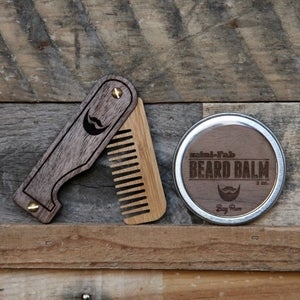 Image of Personalized Handmade Folding Wood Beard Comb - Black and Tan