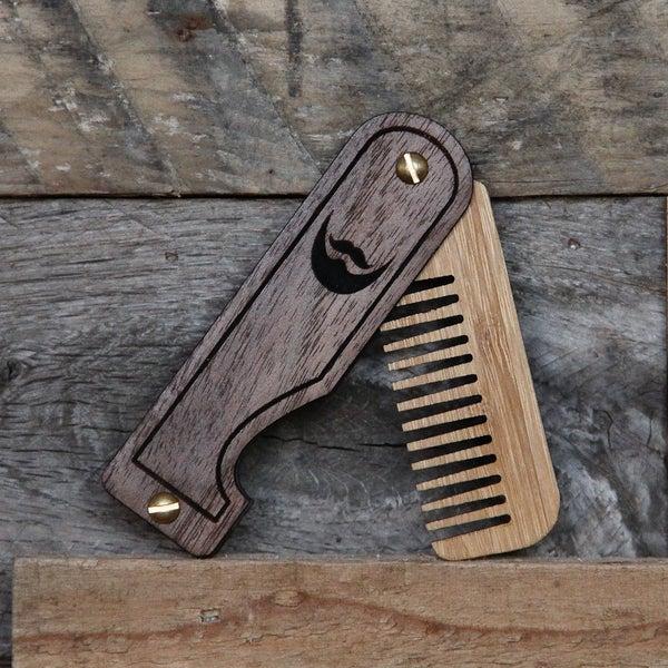 Image of Personalized Handmade Folding Wood Beard Comb - Black and Tan