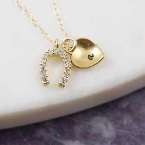 Image of Lucky In Love - Personalised Gold Pave Horseshoe Heart Necklace