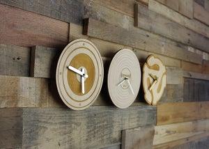 Image of Handmade Wood Vinyl Record, Speaker, 45 RPM Adapter Clock - Walnut