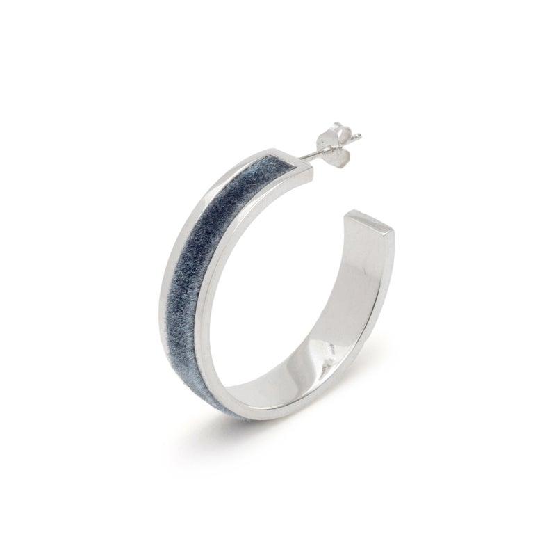 Image of Tall Velour Hoop Earrings - Charcoal