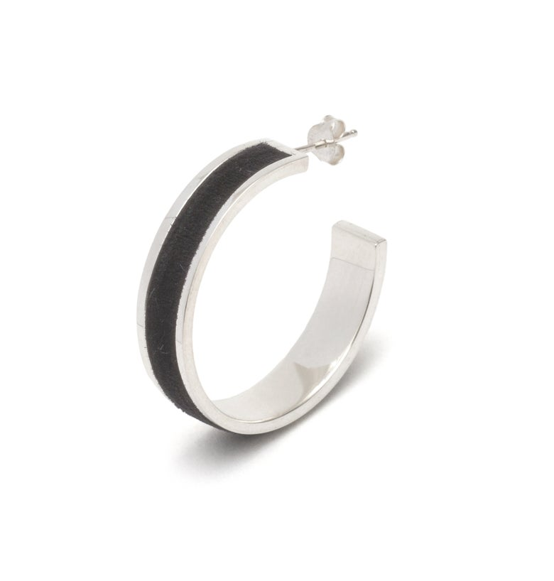 Image of Tall Velour Hoop Earrings  - Black