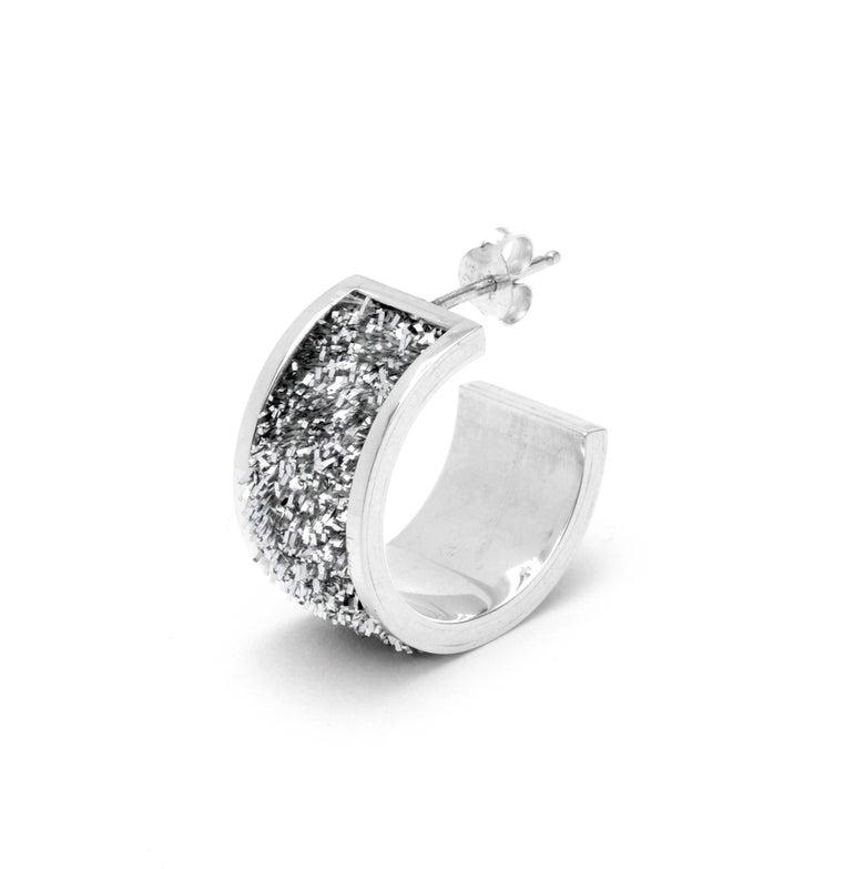 Image of Short Hoop Earrings - Silver on Silver