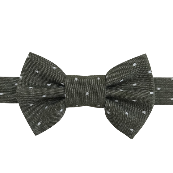 Image of olive chambray dot bow tie