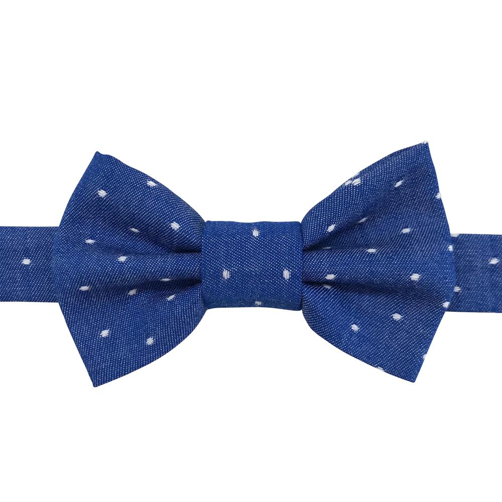 Image of royal chambray dot bow tiee