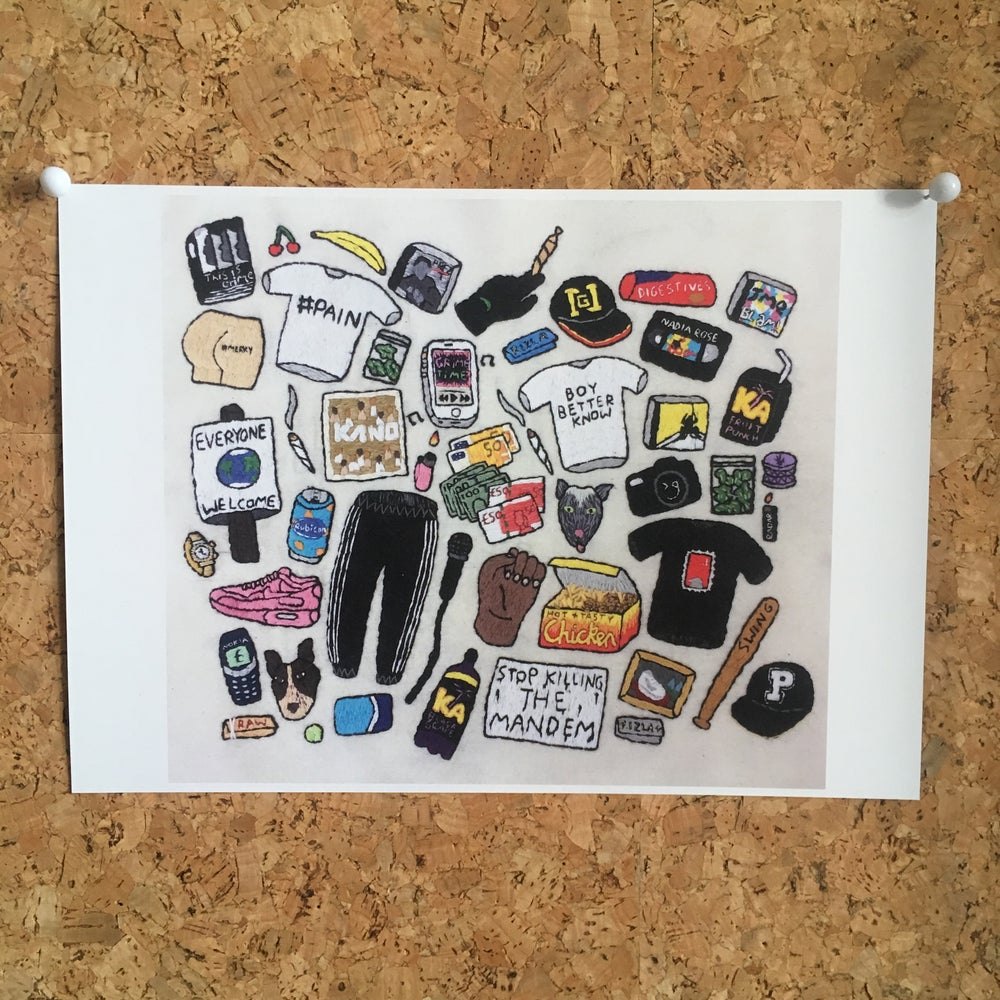Image of A4 Print - London Ft Grime Embroidery