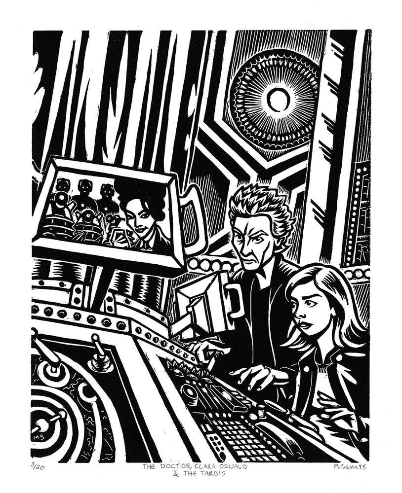Image of The Doctor, Clara Oswald & The TARDIS