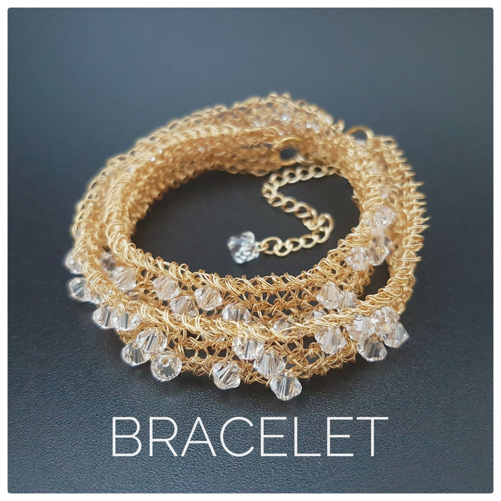 Image of Classic hand knitted Wire Choker / Bracelet - Gold