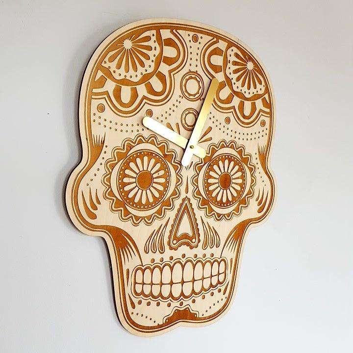 Image of Dia de los Muertos Clock - Baltic Birch Plywood