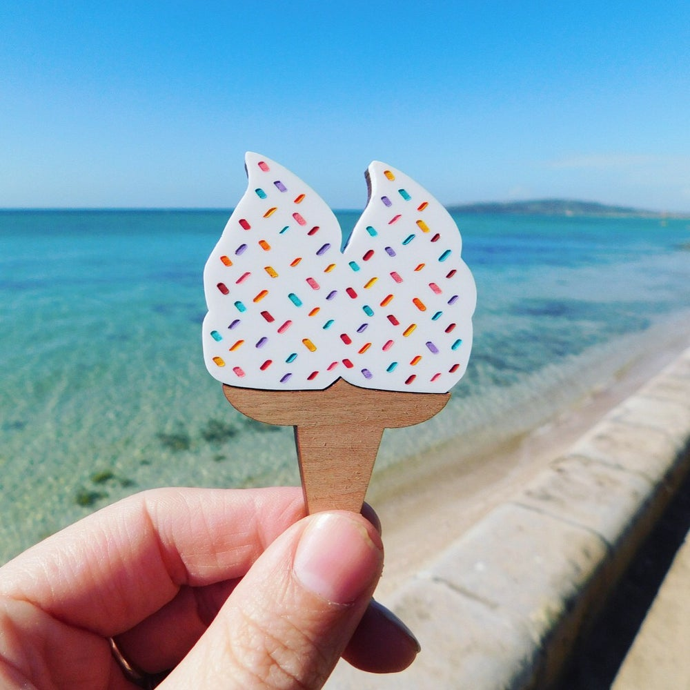 Image of Double Scoop Rainbow Sprinkle Icecream Brooch
