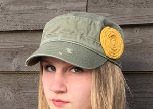 Image of Olive Hat/Golden Yellow Flower