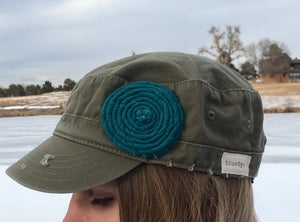 Image of Olive Hat/Turquoise Flower
