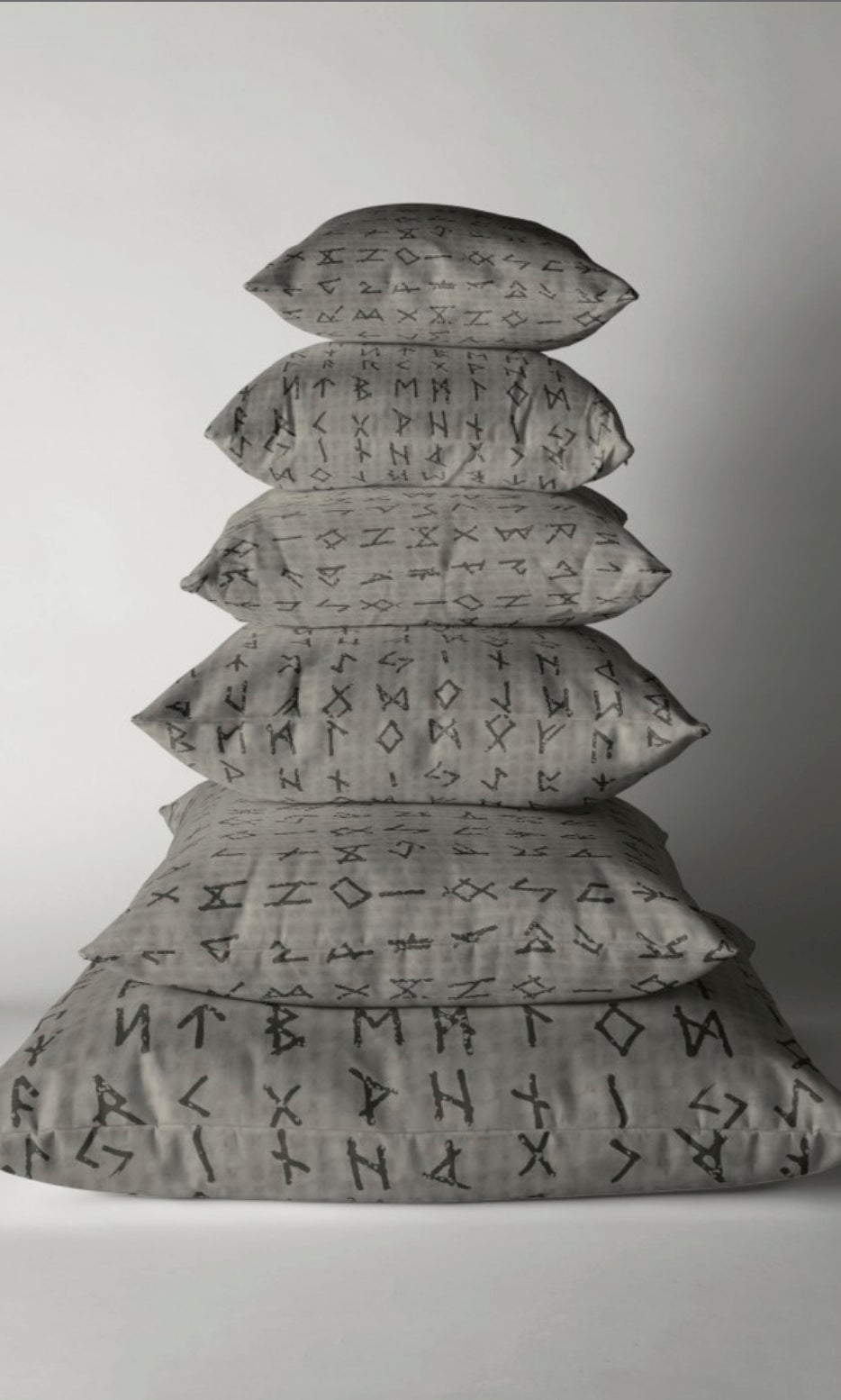 Image of FUTHARK RUNE PILLOW GREY: LINK IN LISTING