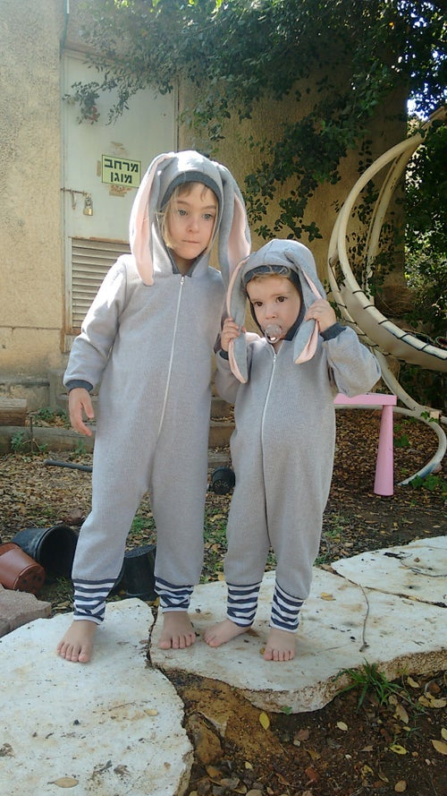 Image of Gray bunny cotton play suit אוברול ארנב אפור
