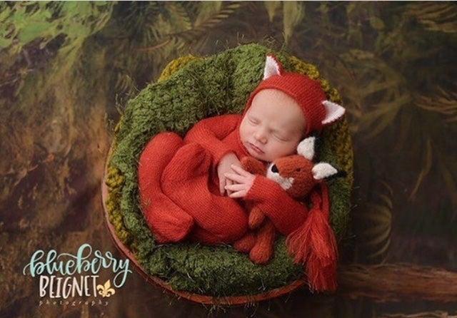 Image of Little Fox Jammy Onesie & Bonnet Set