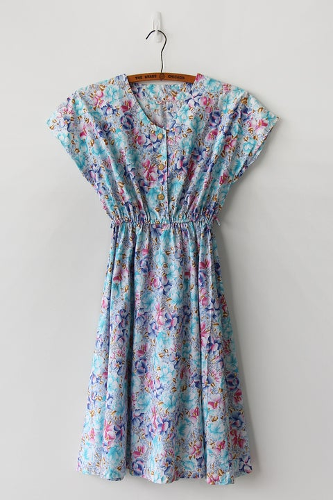 Image of Vibrant Tropical Floral Cotton Dress