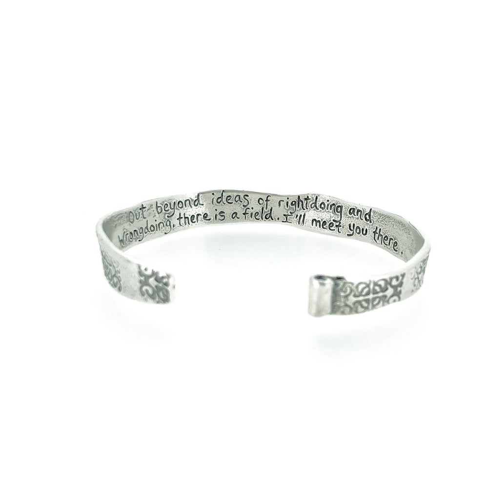 Image of sterling silver rumi quote cuff . out beyond cuff . Cuff-c