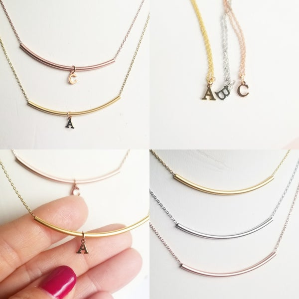 Image of Tiny Letter Necklace or Bar Necklace