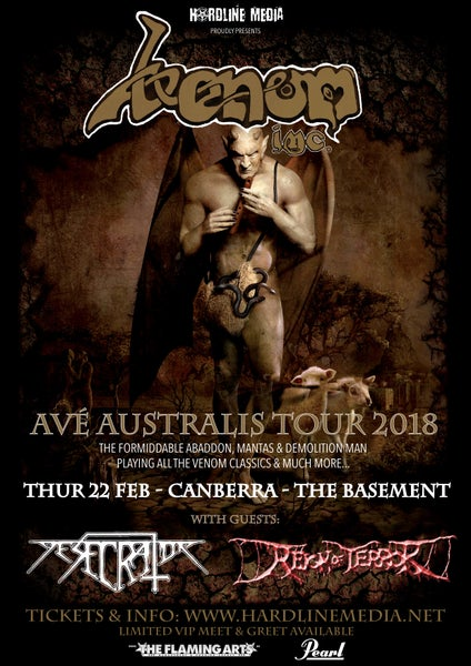 Image of VENOM INC TICKET (GA) - CANBERRA, THE BASEMENT - THUR 22 FEB 2018