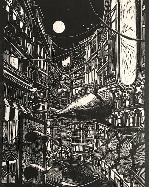 "Image of ""Street shark"" Limited Edition Lino cut print"