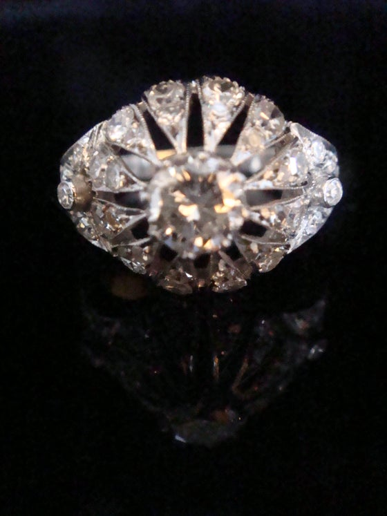 Image of STUNNING EDWARDIAN PLATINUM LARGE OLD CUT DIAMOND CLUSTER 1.60CT