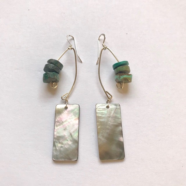Image of Fish Lure Inspired Abalone and Turquoise Earrings