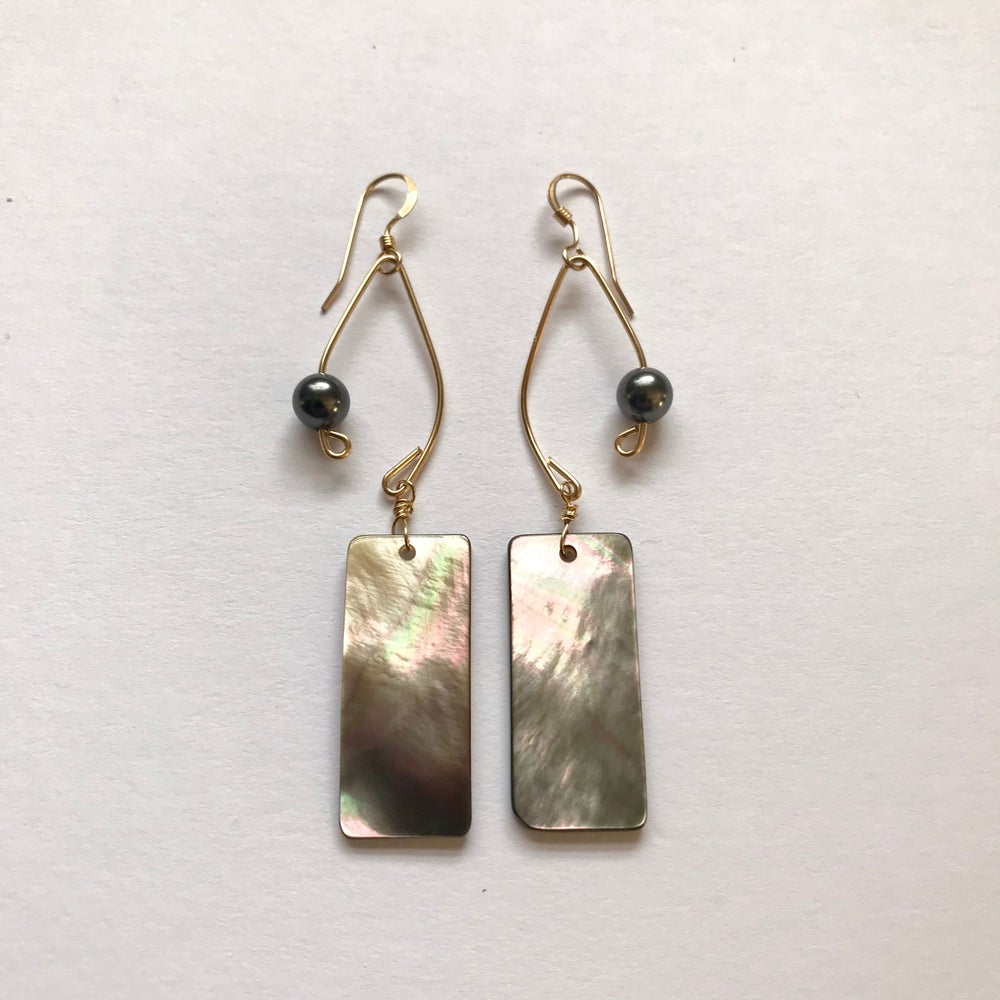 Image of 14 K Gold Filled Fish Lure Inspired Earrings- Abalone and Black Pearl