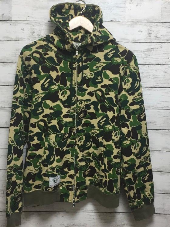 Image of BAPE x STUSSY Green Camo Full-Zip Hoodie Rare
