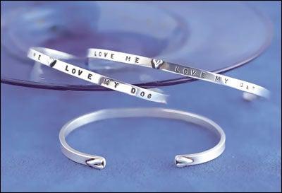 "Image of ""Love Me Love My Dog"" Sterling Bracelet"