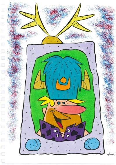 Image of WATER BUFFALO BARNEY ON TV! 9x12 SKETCHBOOK ORIGINAL ART