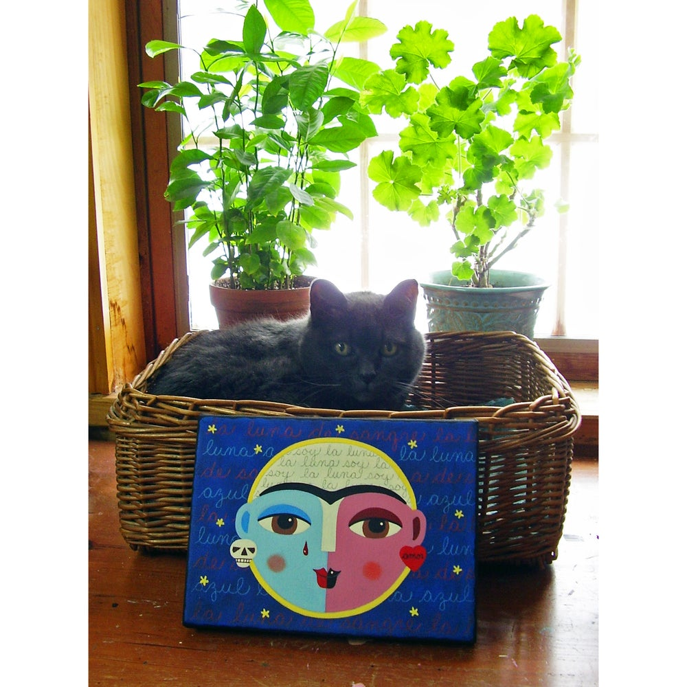 "Image of Frida Kahlo Super Blue Blood Full Moon 6""x8"" ORIGINAL canvas painting"