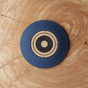 Image of 45 RPM Record Coasters - Cork Label LP Album, Speaker, and 45 Adapter