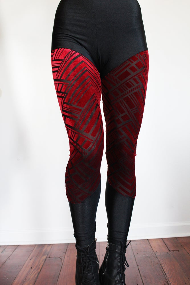 Image of Zig Zag Red Burn Out Velvet