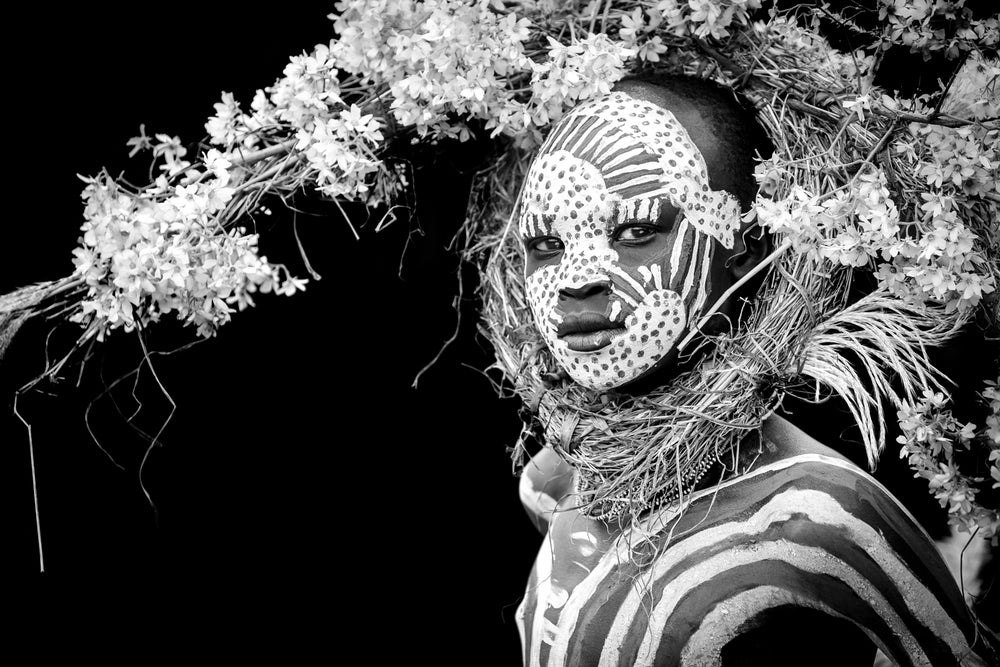 Image of CANVAS - ABEBE - Suri boy with crown of flowers (BLACK & WHITE)