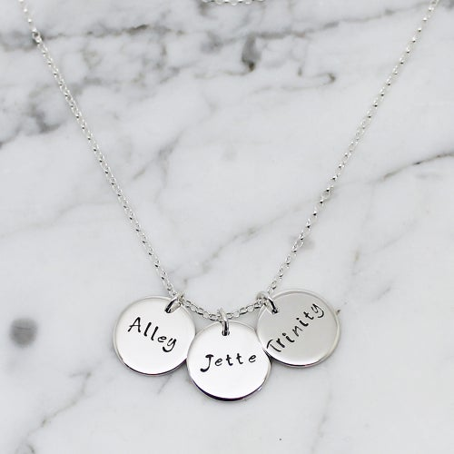 Image of Personalised Triple Disc Sterling Silver Necklace