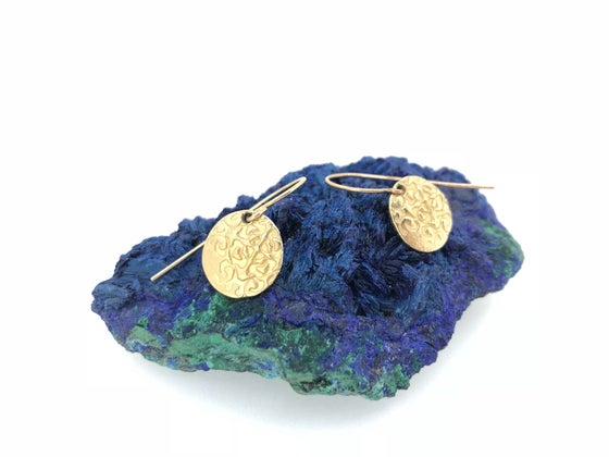 Image of yellow gold dangle earrings . tudor rose medallion earrings by peacesofindigo