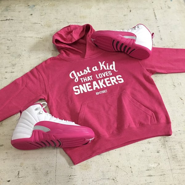"""Image of JUST A KID THAT LOVES SNEAKERS FLEECE HOODY """"WHITE PRINT"""" (YOUTH)"""