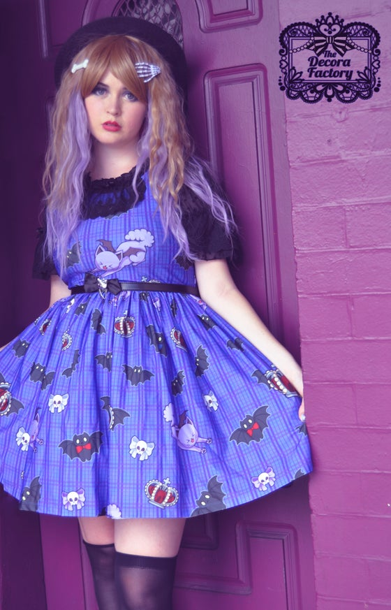 Image of Gothic Royale Kitty Bat Skater Dress