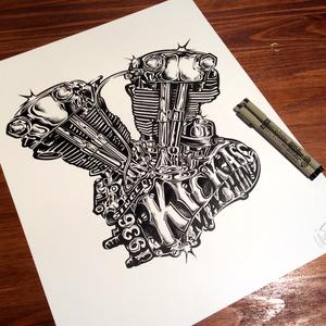 Image of KICK ASS MACHINE - Ink on paper