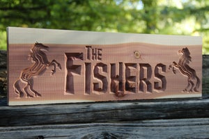 Image of Personalized Wood Sign - CNC Custom Carved Aromatic Cedar Wood Sign - Lodge