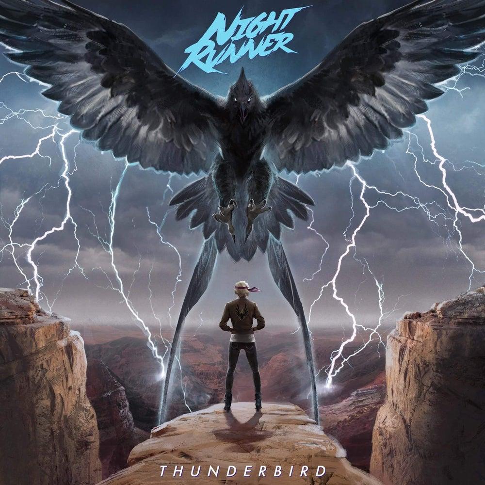 Image of Night Runner: Thunderbird Clear w/ black & blue splatter 250 copies